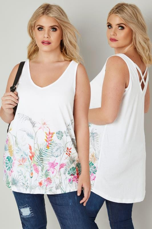White Floral V-Neck Vest Top With Cross Back Detail