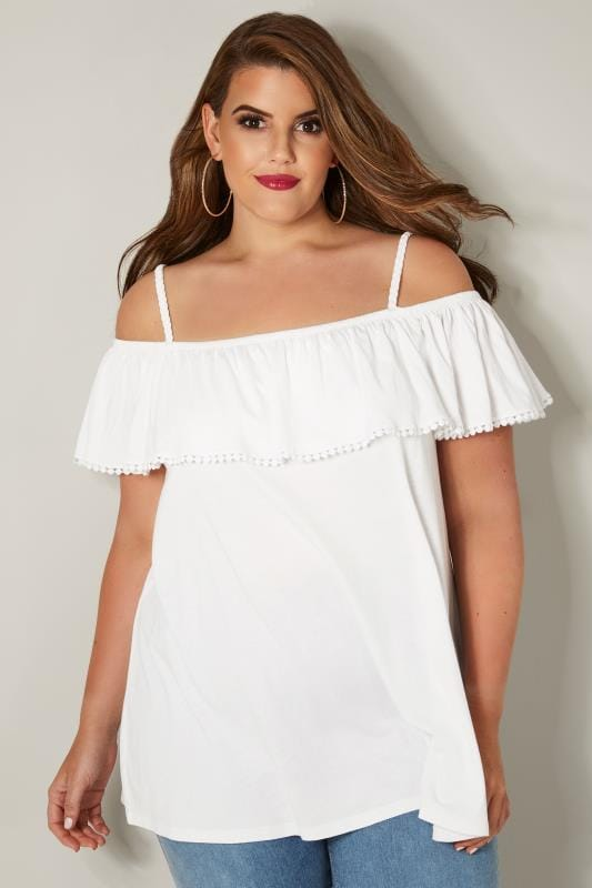 Plus Size Day Tops White Frilled Bardot Top