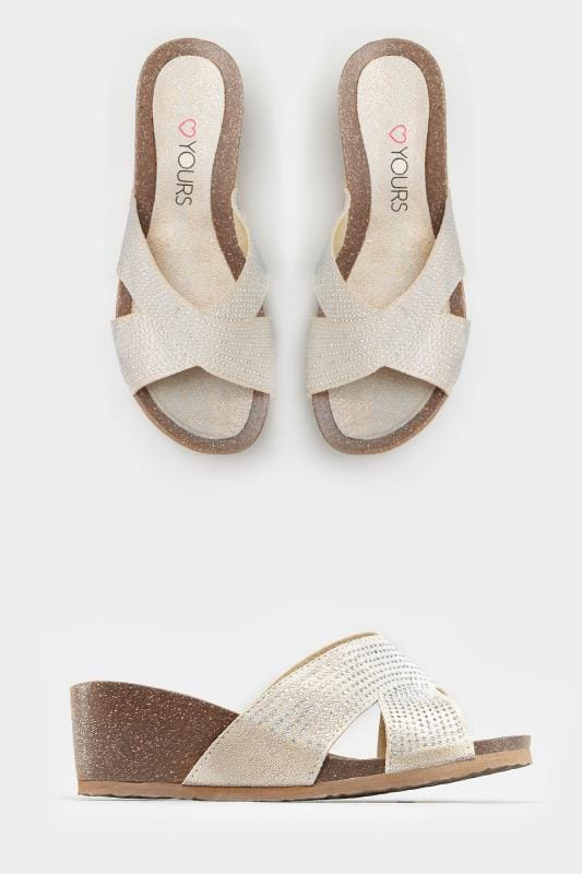 Wide Fit Wedges White Gold Embellished Cross Front Wedge Sandals In EEE Fit