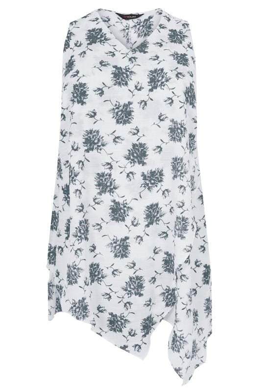 White & Grey Floral Print Longline Top With Asymmetrical Hem