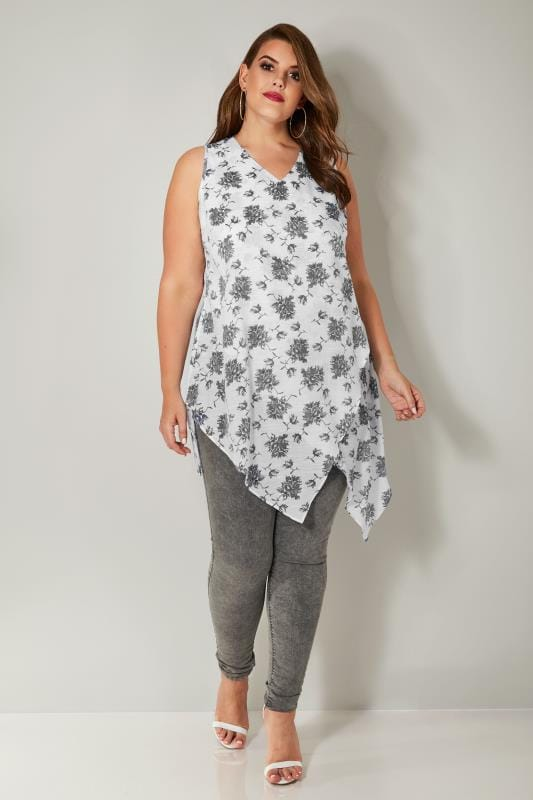 White & Grey Floral Print Sleeveless Top With Asymmetric Front