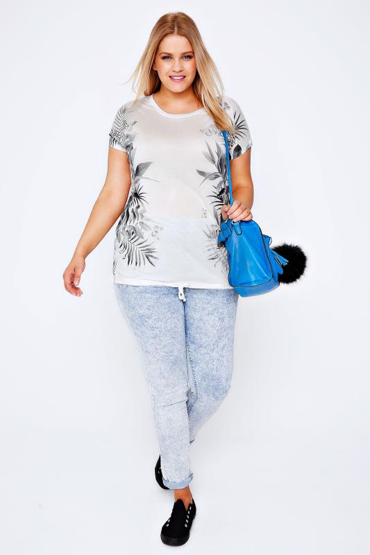White & Grey Mirror Print T-Shirt With Drawstring Hem