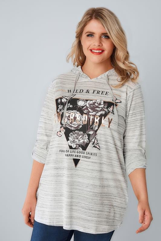 "White & Grey ""Wild & Free"" Foil Print Hooded Jumper"