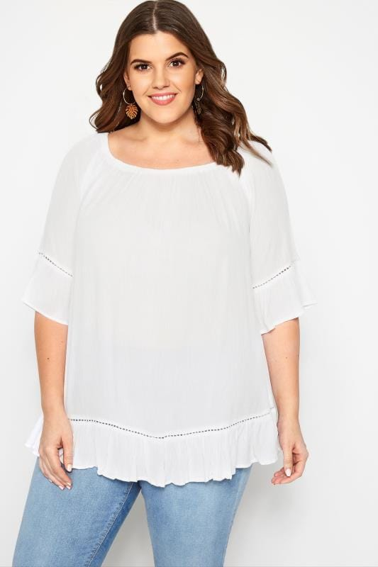 Plus Size Day Tops White Gypsy Bardot Top