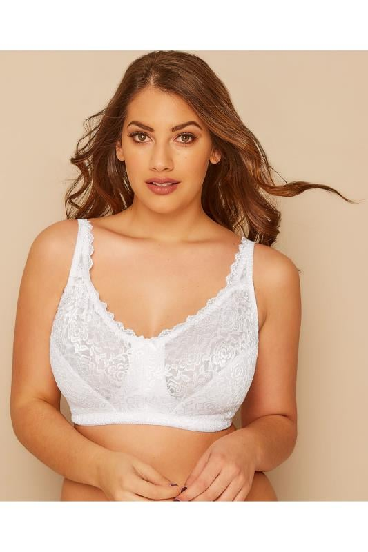 Plus Size Bras Non Wire White Hi Shine Lace Non-Wired Bra