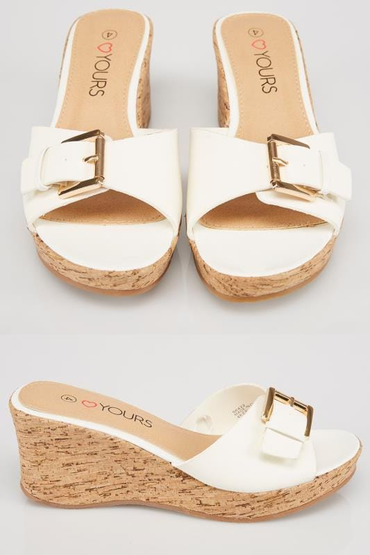 Wide Fit Sandals White High Cork Wedge Mule In EEE Fit