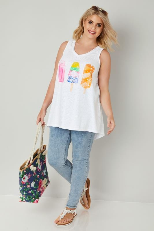 White Ice Lolly Print Top In Aztec Burn Out