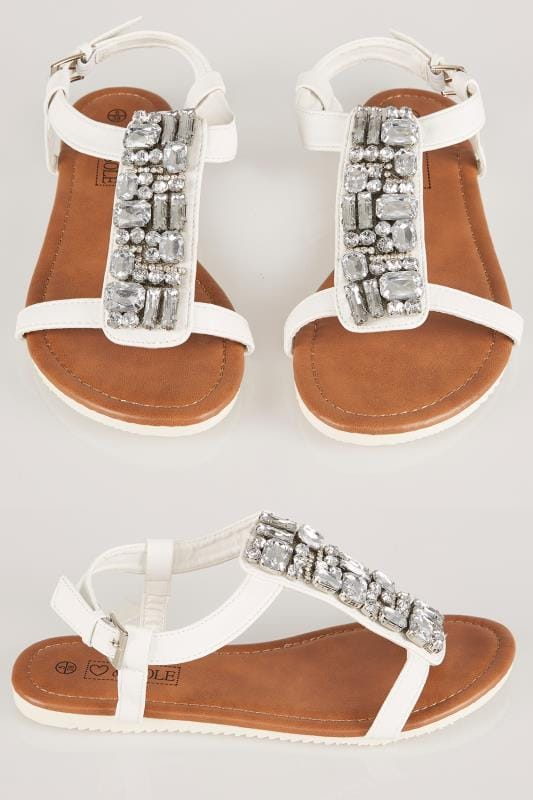 Wide Fit Sandals White Jewel Trim E Fit Sandal With Cleated Sole