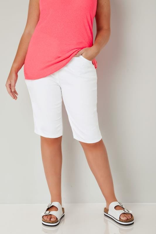 White Knee Length Shorts
