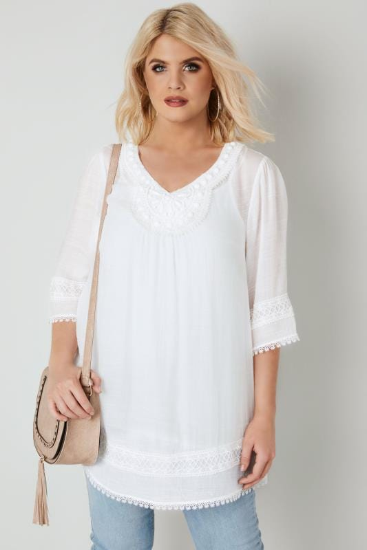 Plus Size Blouses & Shirts White Longline Top With Embellished Neckline & Lace Trim
