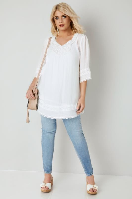White Longline Top With Embellished Neckline