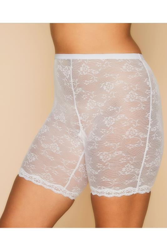 Sculptante Grande Taille White Lace Thigh Smoother Brief