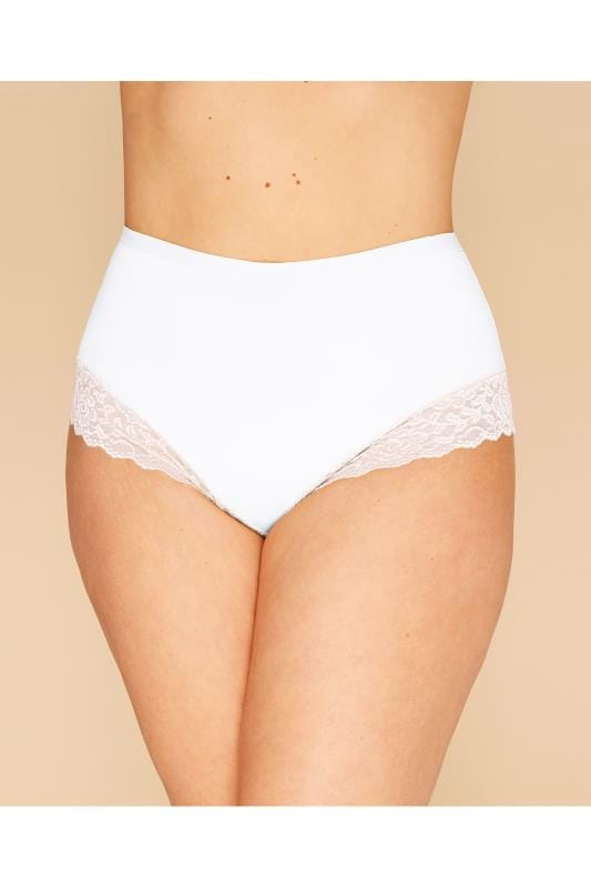 Plus Size Briefs White Lace Trim Briefs