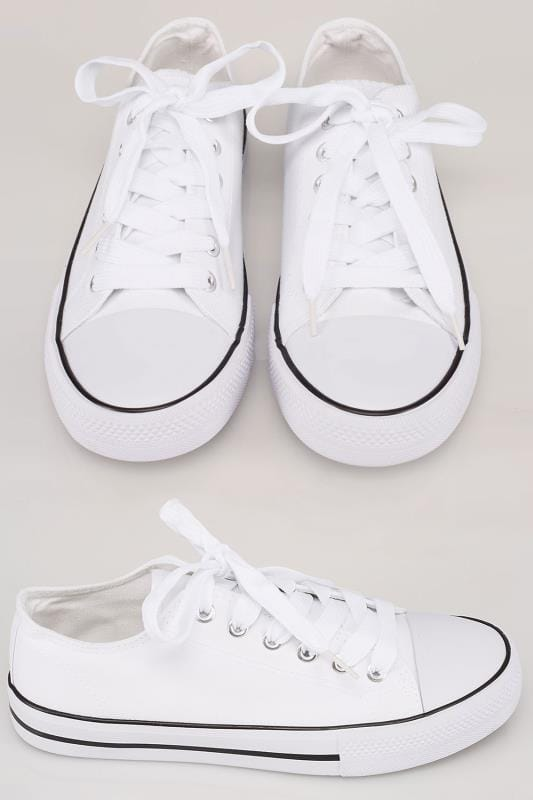 White Lace Up Canvas Plimsoll With Contrast Edge In TRUE EEE Fit