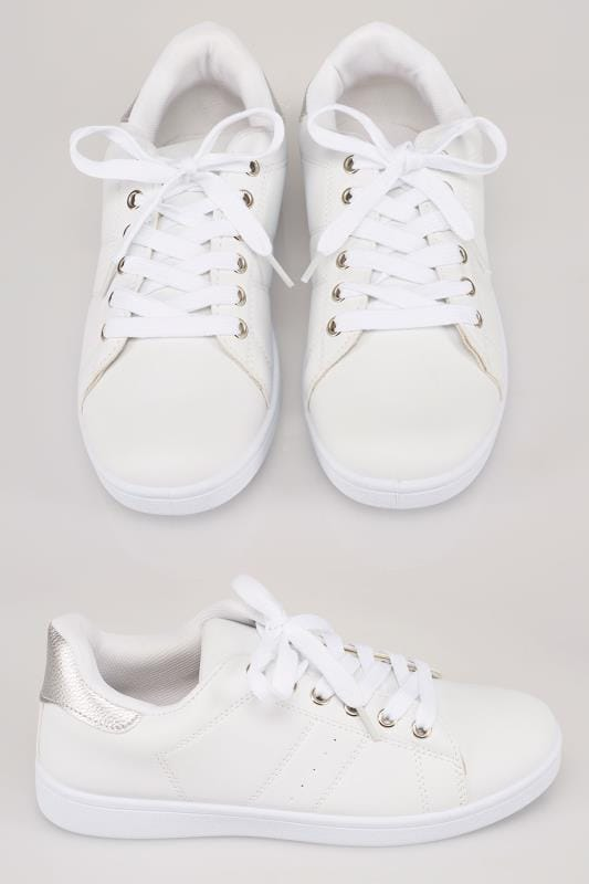 White Lace Up Trainers With Contrasting Silver Foil Detail In TRUE EEE Fit