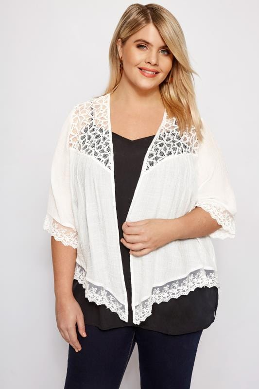 Plus Size Cover Ups White Lace Waterfall Cover Up