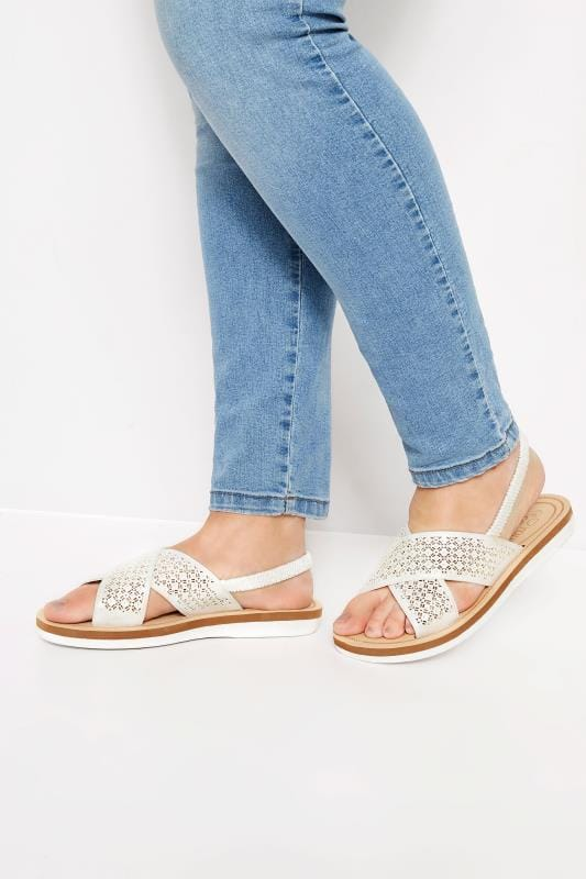 Plus Size Sandals White Laser Cut Diamante Sandals
