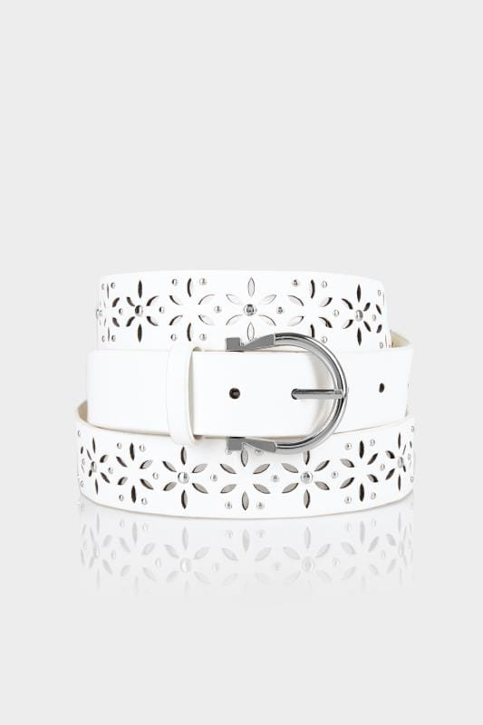 Plus Size Belts White Laser Cut Out Belt With Stud Details