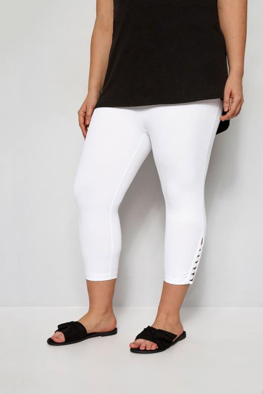 82199ded17908 Plus Size Cropped & Short Leggings White Lattice Cropped Leggings