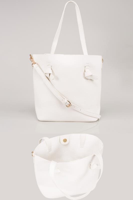 Plus Size Bags & Purses White Leather Look Shopper Bag With Knot Trim