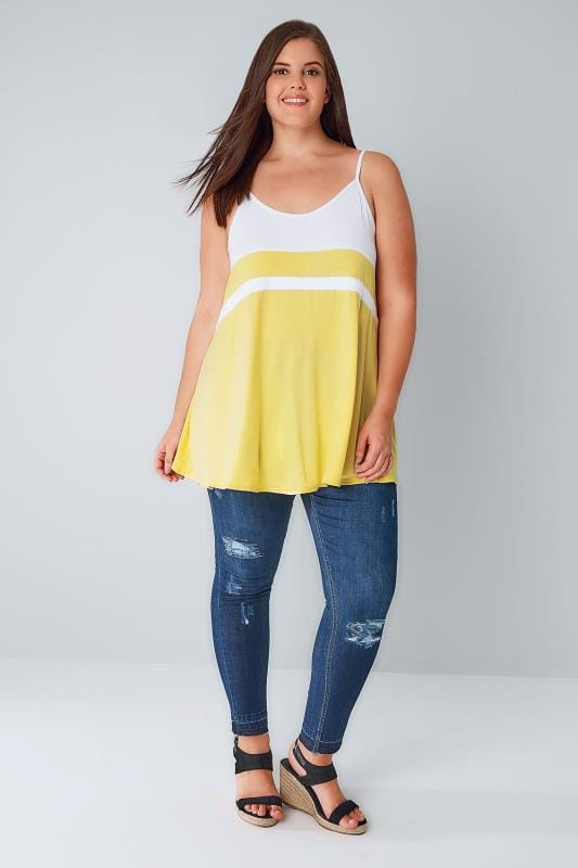 White & Lemon Yellow Colour Block Cami Top