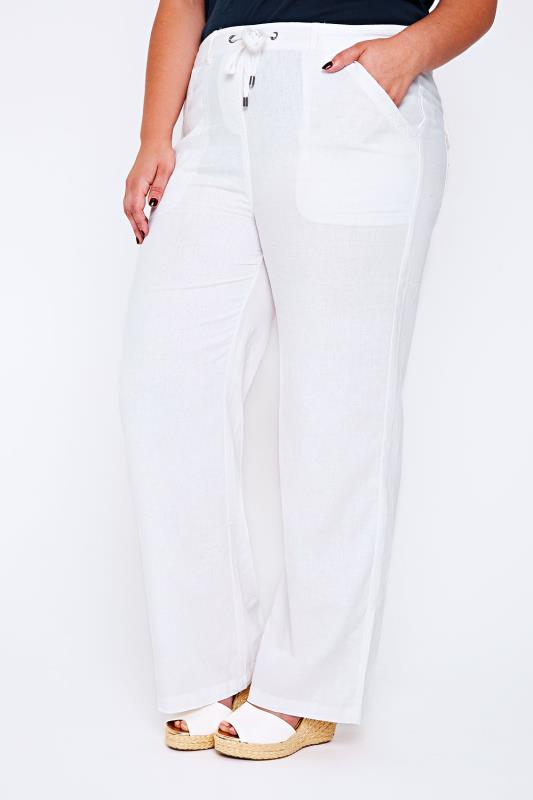 Linen Mix Trousers White Linen Mix Full Length Trousers With Four Pockets 055733