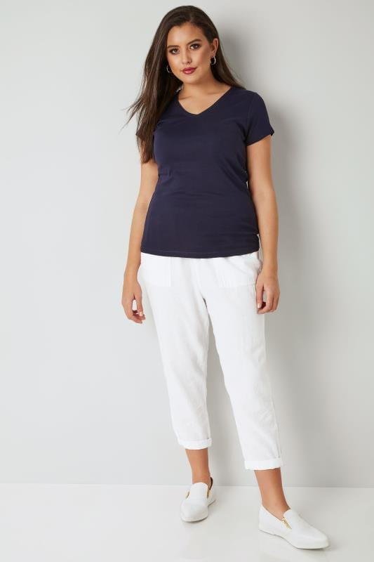 White Linen Mix Pull On Tapered Trousers