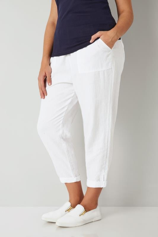 Plus Size Linen Mix Pants White Linen Mix Pull On Tapered Trousers