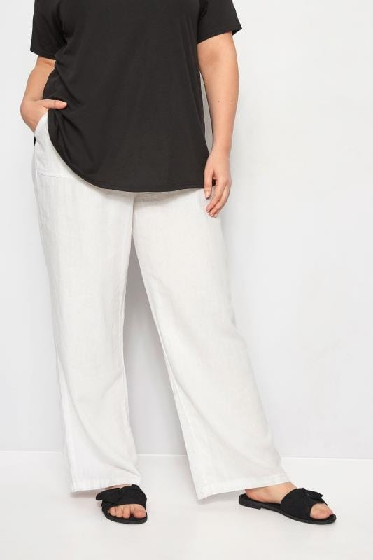 White Linen Mix Pull On Wide Leg Trousers