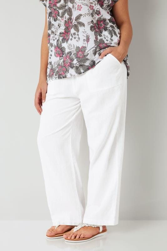 "Plus Size Linen Mix Trousers White Linen Mix Pull On Wide Leg 28"" Trousers"