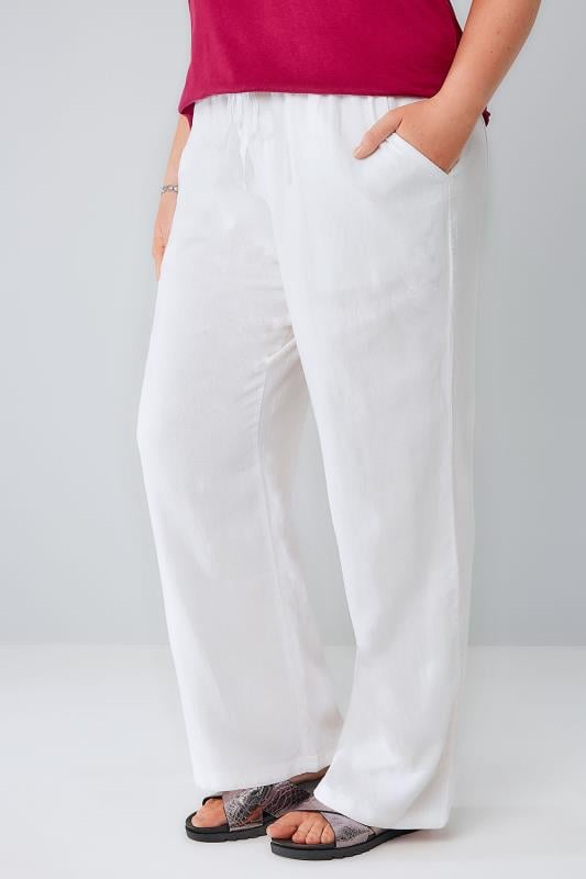 White Linen Mix Pull On Wide Leg Trousers With Pockets