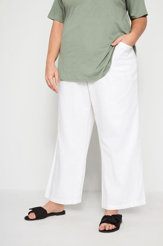 a5bd17015040a Plus Size Linen Mix Trousers White Linen Mix Wide Leg Trousers