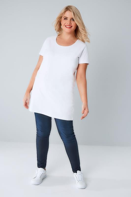 White Longline T-Shirt With Scooped Neck
