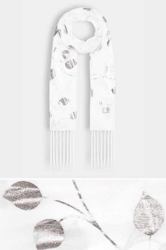 Plus Size Scarves White & Metallic Leaf Print Scarf With Tassels