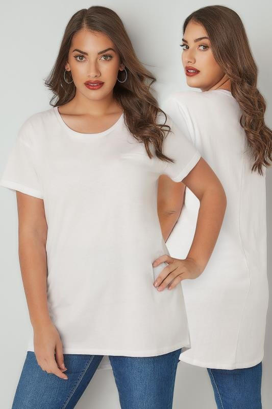 White Mock Pocket T-Shirt With Curved Hem