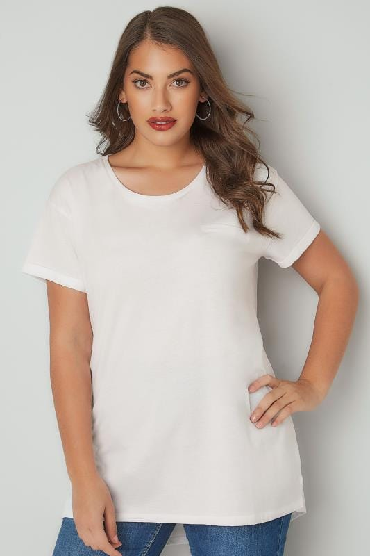 Plus Size T-Shirts White Mock Pocket T-Shirt With Curved Hem