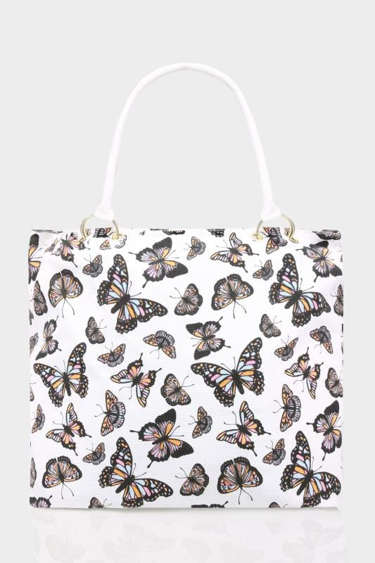 White Butterfly Canvas Shopper Bag