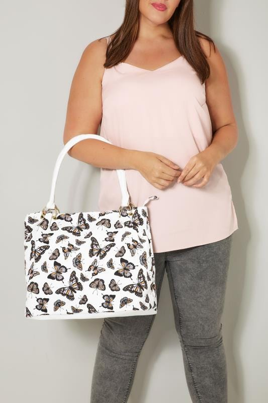 Plus Size Bags & Purses White & Multi Butterfly Print Canvas Shopper Bag