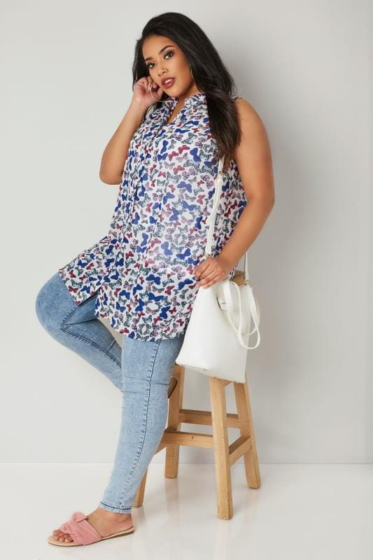 White & Multi Butterfly Print Chiffon Sleeveless Shirt