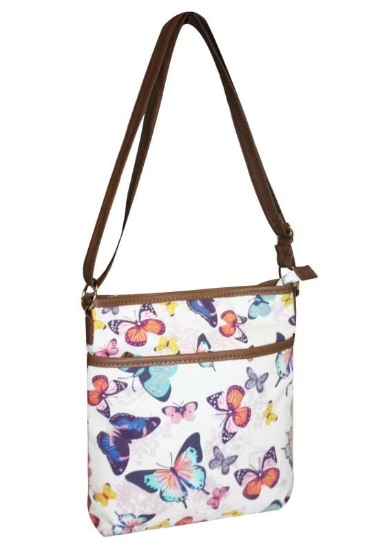 White & Multi Butterfly Print Cross Body Bag