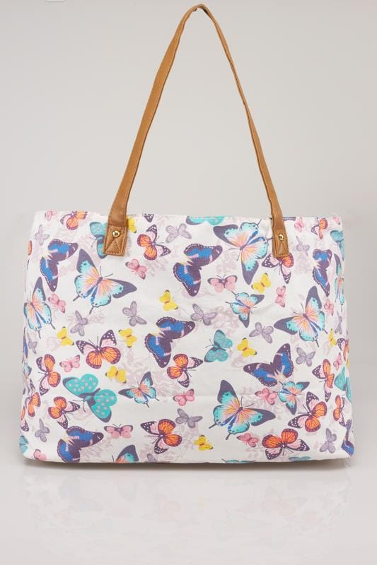 White & Multi Butterfly Print Large Shopper Bag With Detachable Purse