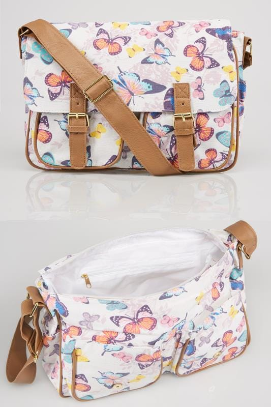 White & Multi Butterfly Print Shoulder Satchel