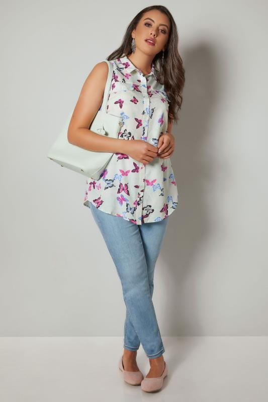 White & Multi Butterfly Print Sleeveless Shirt