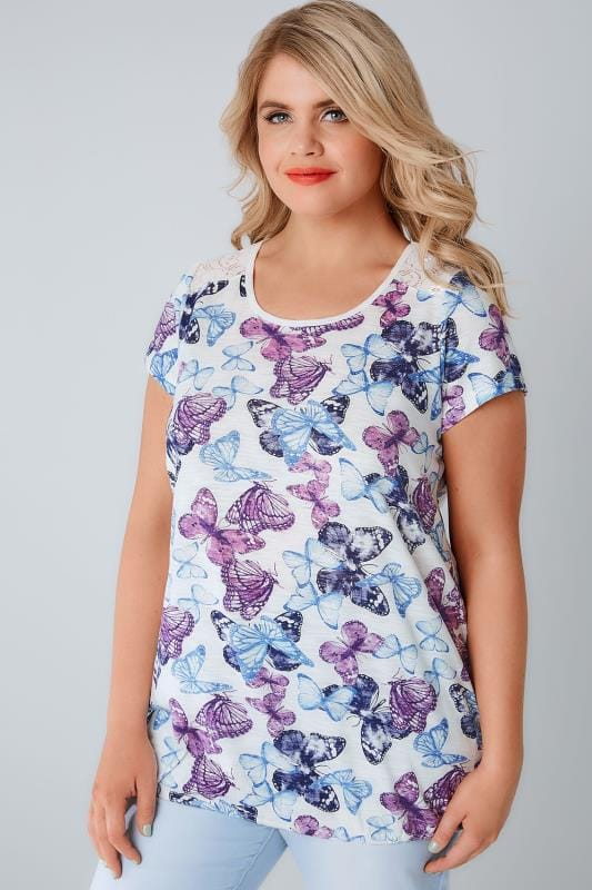 Jersey Tops White & Multi Butterfly Print Top With Bubble Hem & Lace Insert 132168