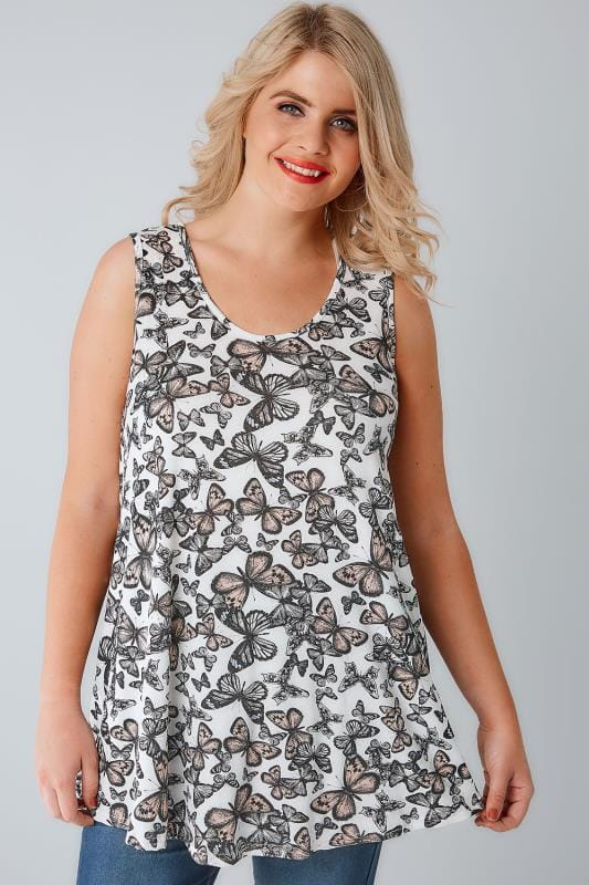 White & Multi Butterfly Print Vest Top