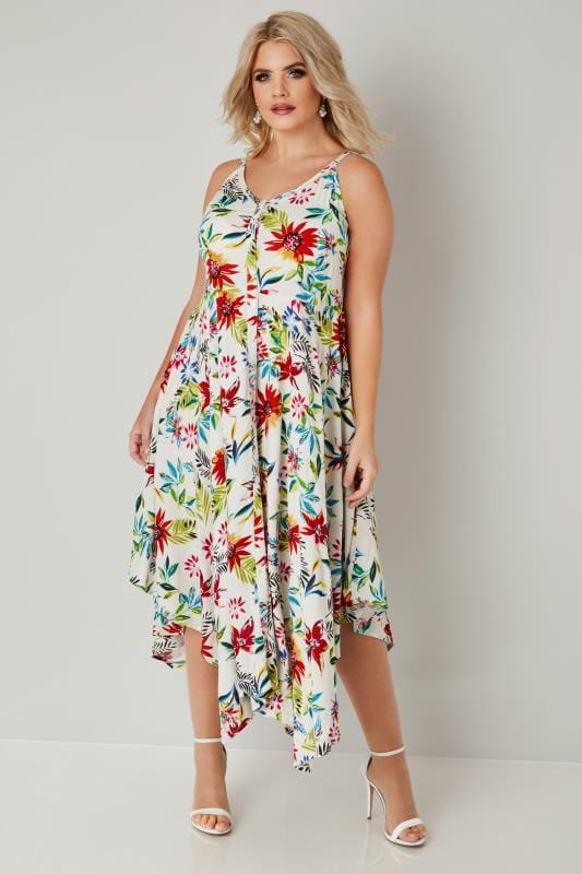Plus Size Midi Dresses White & Multi Floral Hanky Hem Dress