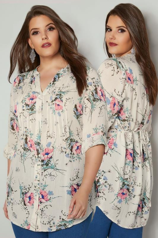 Ivory & Multi Floral Pintuck Longline Blouse With Sequin Detail