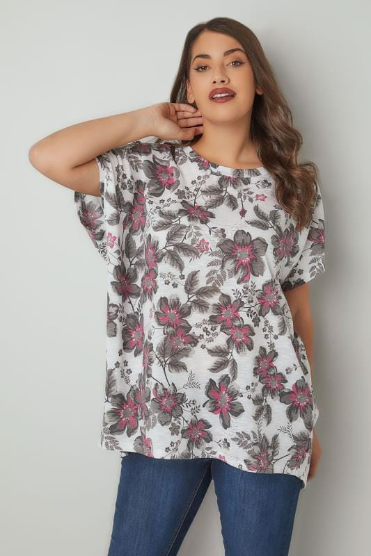 Plus Size Jersey Tops White & Multi Floral Print Oversized Top With Grown-On Sleeves