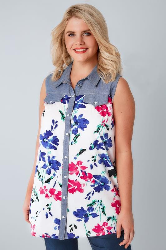 White & Multi Floral Print Sleeveless Shirt With Chambray Trim