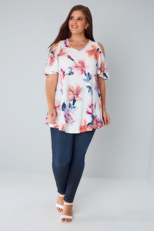 White & Multi Floral Print Slinky Cold Shoulder Top